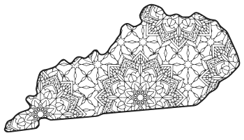 Free printable Kentucky coloring page with pattern to color for preschool, kids,  and adults.