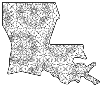 Free printable Louisiana coloring page with pattern to color for preschool, kids,  and adults.