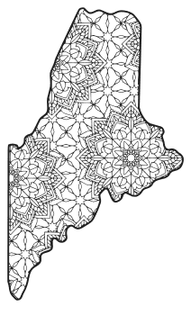 Free printable Maine coloring page with pattern to color for preschool, kids,  and adults.