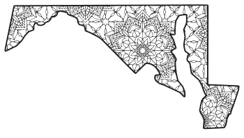 Free printable Maryland coloring page with pattern to color for preschool, kids,  and adults.