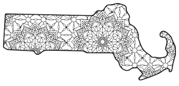 Free printable Massachusetts coloring page with pattern to color for preschool, kids,  and adults.