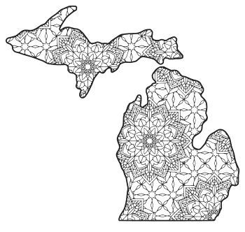 Free printable Michigan coloring page with pattern to color for preschool, kids,  and adults.