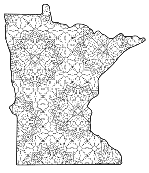 Free printable Minnesota coloring page with pattern to color for preschool, kids,  and adults.