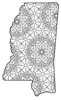 Free printable Mississippi coloring page with pattern to color for preschool, kids,  and adults.