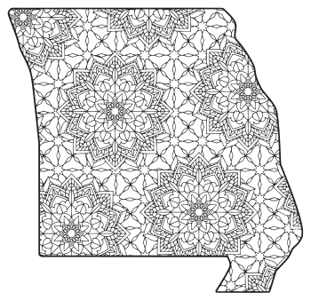 Free printable Missouri coloring page with pattern to color for preschool, kids,  and adults.