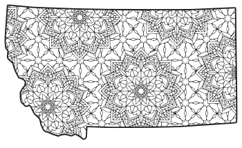 Free printable Montana coloring page with pattern to color for preschool, kids,  and adults.