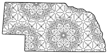 Free printable Nebraska coloring page with pattern to color for preschool, kids,  and adults.