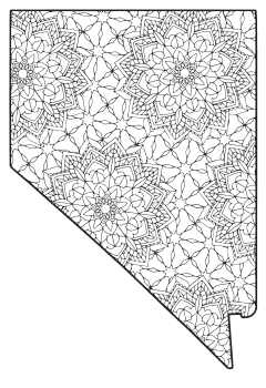 Free printable Nevada coloring page with pattern to color for preschool, kids,  and adults.