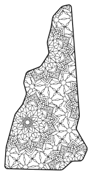 Free printable New Hampshire coloring page with pattern to color for preschool, kids,  and adults.