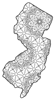 Free printable New Jersey coloring page with pattern to color for preschool, kids,  and adults.