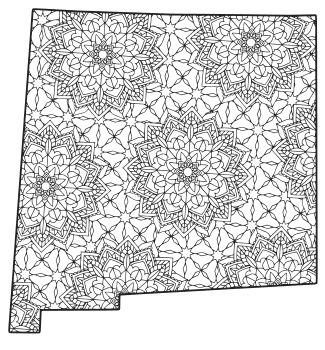 Free printable New Mexico coloring page with pattern to color for preschool, kids,  and adults.