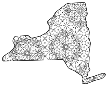 Free printable New York coloring page with pattern to color for preschool, kids,  and adults.