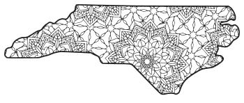 Free printable North Carolina coloring page with pattern to color for preschool, kids,  and adults.