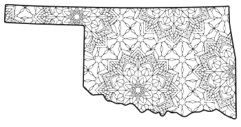 Free printable Oklahoma coloring page with pattern to color for preschool, kids,  and adults.