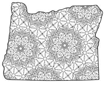 Free printable Oregon coloring page with pattern to color for preschool, kids,  and adults.