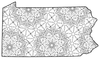 Free printable Pennsylvania coloring page with pattern to color for preschool, kids,  and adults.