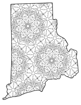 Free printable Rhode Island coloring page with pattern to color for preschool, kids,  and adults.