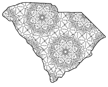 Free printable South Carolina coloring page with pattern to color for preschool, kids,  and adults.
