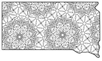 Free printable South Dakota coloring page with pattern to color for preschool, kids,  and adults.