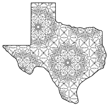 Free printable Texas coloring page with pattern to color for preschool, kids,  and adults.