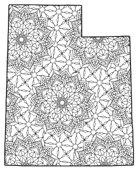 Free printable Utah coloring page with pattern to color for preschool, kids,  and adults.