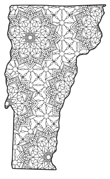 Free printable Vermont coloring page with pattern to color for preschool, kids,  and adults.
