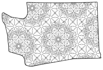 Free printable Washington coloring page with pattern to color for preschool, kids,  and adults.