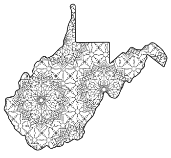 Free printable West Virginia coloring page with pattern to color for preschool, kids,  and adults.