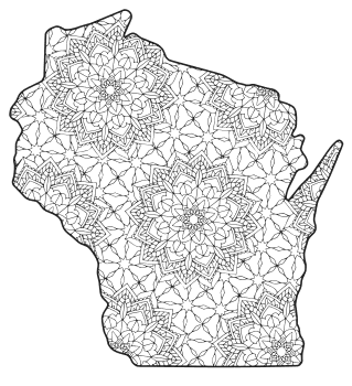 Free printable Wisconsin coloring page with pattern to color for preschool, kids,  and adults.
