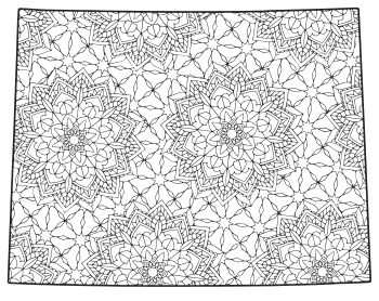 Free printable Wyoming coloring page with pattern to color for preschool, kids,  and adults.