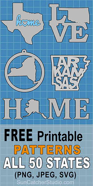 Free state map, outlines, shapes, patterns, and print, download stencils coloring pages of all 50 United States (US) states.
