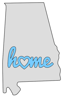 Alabama home heart stencil pattern template shape state clip art outline printable downloadable free template map scroll saw pattern, laser cutting, vector graphic.