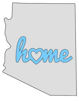 Arizona home heart stencil pattern template shape state clip art outline printable downloadable free template map scroll saw pattern, laser cutting, vector graphic.