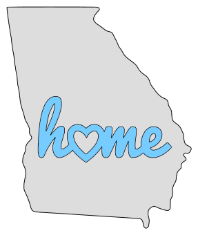 Georgia home heart stencil pattern template shape state clip art outline printable downloadable free template map scroll saw pattern, laser cutting, vector graphic.