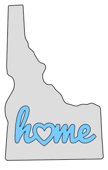 Idaho home heart stencil pattern template shape state clip art outline printable downloadable free template map scroll saw pattern, laser cutting, vector graphic.
