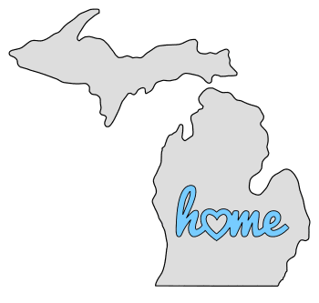 Michigan home heart stencil pattern template shape state clip art outline printable downloadable free template map scroll saw pattern, laser cutting, vector graphic.