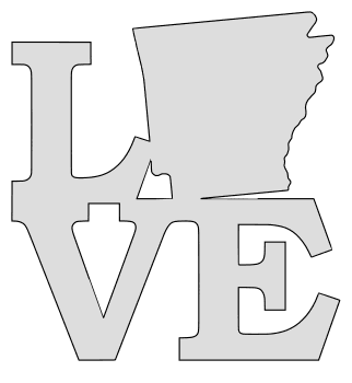 Arkansas map love state stencil clip art scroll saw pattern printable downloadable free template, laser cutting, vector graphic.