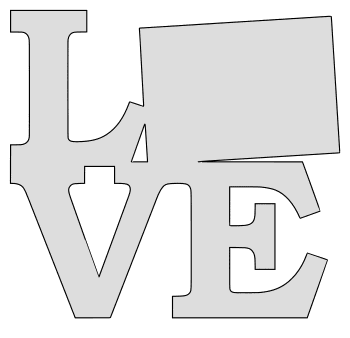 Colorado map love state stencil clip art scroll saw pattern printable downloadable free template, laser cutting, vector graphic.