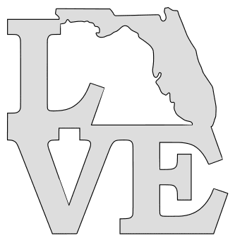 Florida map love state stencil clip art scroll saw pattern printable downloadable free template, laser cutting, vector graphic.
