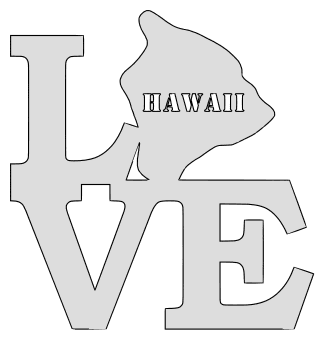 Hawaii map love state stencil clip art scroll saw pattern printable downloadable free template, laser cutting, vector graphic.