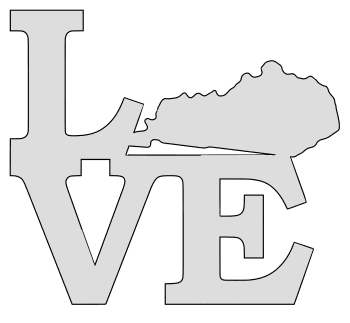 Kentucky map love state stencil clip art scroll saw pattern printable downloadable free template, laser cutting, vector graphic.