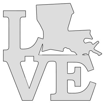 Louisiana map love state stencil clip art scroll saw pattern printable downloadable free template, laser cutting, vector graphic.