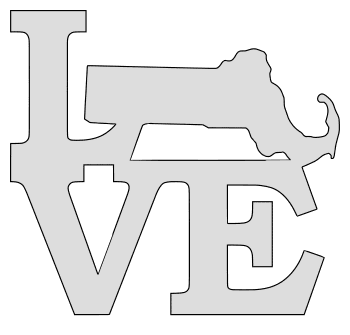 Massachusetts map love state stencil clip art scroll saw pattern printable downloadable free template, laser cutting, vector graphic.