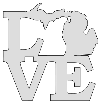 Michigan map love state stencil clip art scroll saw pattern printable downloadable free template, laser cutting, vector graphic.