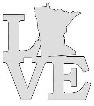 Minnesota map love state stencil clip art scroll saw pattern printable downloadable free template, laser cutting, vector graphic.