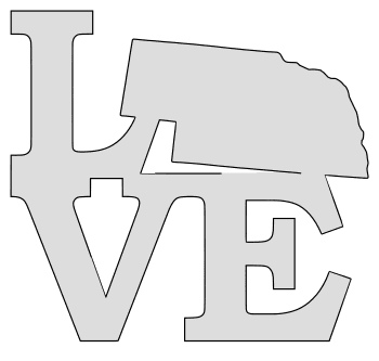 Nebraska map love state stencil clip art scroll saw pattern printable downloadable free template, laser cutting, vector graphic.