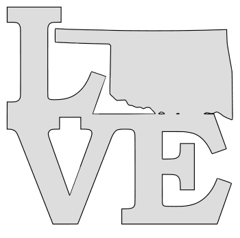 Oklahoma map love state stencil clip art scroll saw pattern printable downloadable free template, laser cutting, vector graphic.