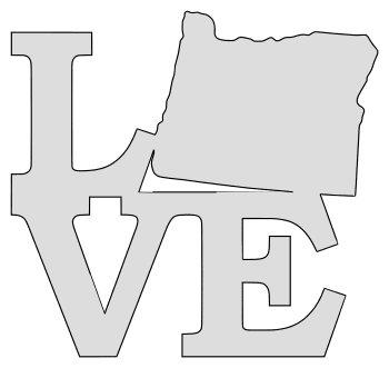 Oregon map love state stencil clip art scroll saw pattern printable downloadable free template, laser cutting, vector graphic.
