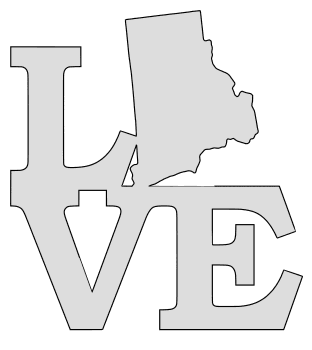 Rhode Island map love state stencil clip art scroll saw pattern printable downloadable free template, laser cutting, vector graphic.