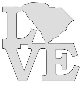 South Carolina map love state stencil clip art scroll saw pattern printable downloadable free template, laser cutting, vector graphic.